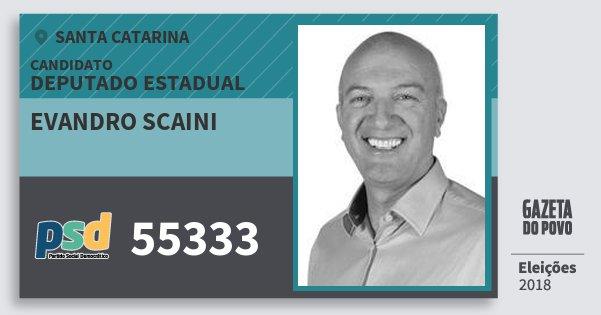 Santinho Evandro Scaini 55333 (PSD) Deputado Estadual | Santa Catarina | Eleições 2018