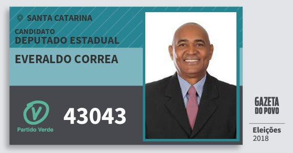 Santinho Everaldo Correa 43043 (PV) Deputado Estadual   Santa Catarina   Eleições 2018