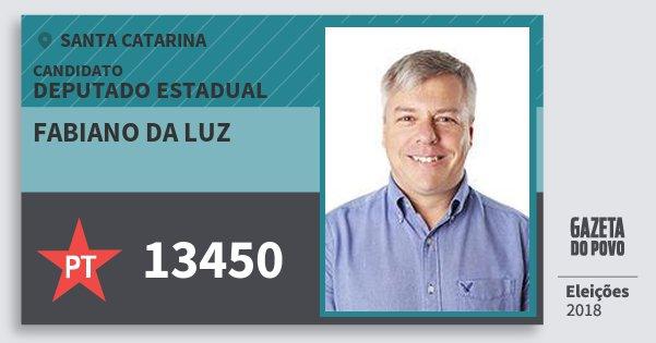 Santinho Fabiano da Luz 13450 (PT) Deputado Estadual | Santa Catarina | Eleições 2018