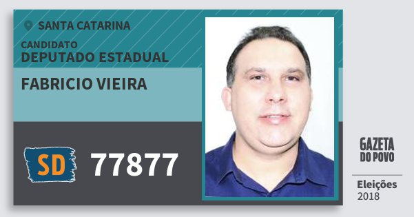 Santinho Fabricio Vieira 77877 (SOLIDARIEDADE) Deputado Estadual | Santa Catarina | Eleições 2018