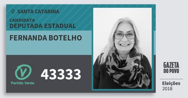 Santinho Fernanda Botelho 43333 (PV) Deputada Estadual | Santa Catarina | Eleições 2018