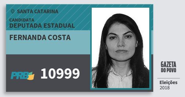 Santinho Fernanda Costa 10999 (PRB) Deputada Estadual | Santa Catarina | Eleições 2018
