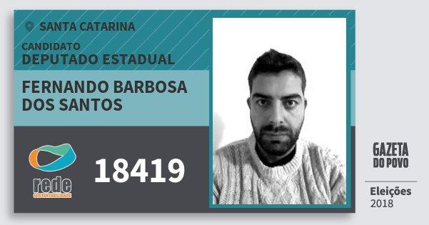 Santinho Fernando Barbosa dos Santos 18419 (REDE) Deputado Estadual | Santa Catarina | Eleições 2018