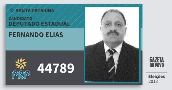 Santinho Fernando Elias 44789 (PRP) Deputado Estadual | Santa Catarina | Eleições 2018