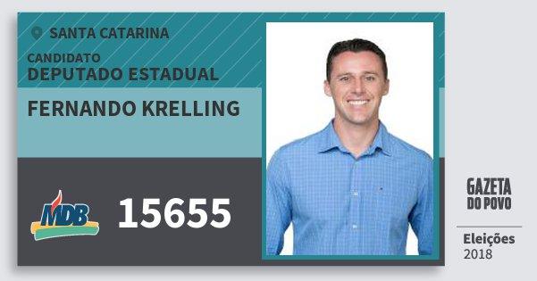 Santinho Fernando Krelling 15655 (MDB) Deputado Estadual | Santa Catarina | Eleições 2018
