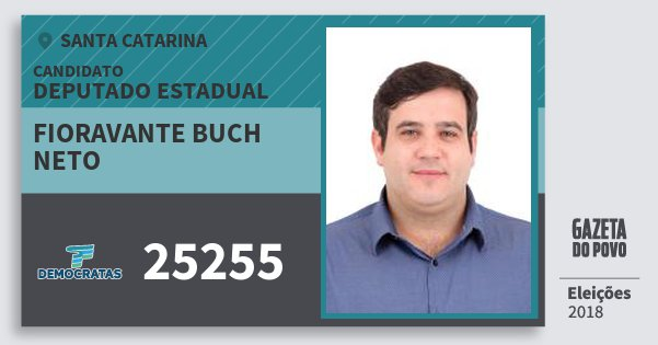 Santinho Fioravante Buch Neto 25255 (DEM) Deputado Estadual | Santa Catarina | Eleições 2018