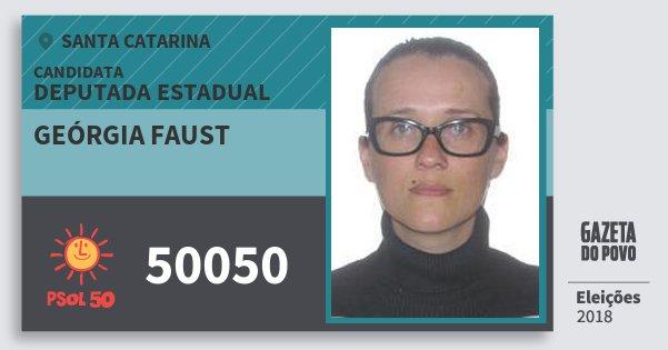 Santinho Geórgia Faust 50050 (PSOL) Deputada Estadual | Santa Catarina | Eleições 2018