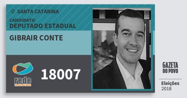 Santinho Gibrair Conte 18007 (REDE) Deputado Estadual | Santa Catarina | Eleições 2018