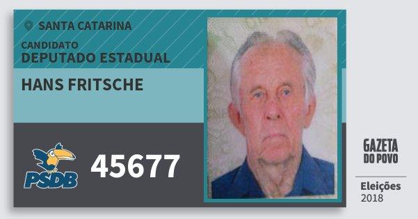 Santinho Hans Fritsche 45677 (PSDB) Deputado Estadual | Santa Catarina | Eleições 2018