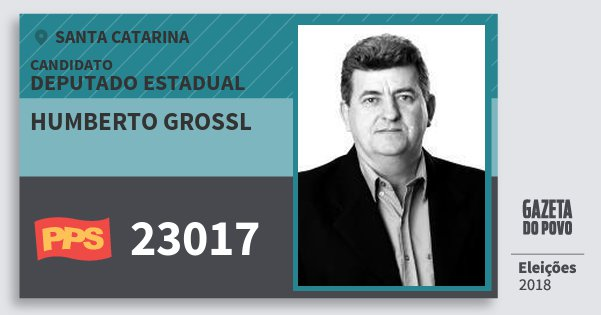 Santinho Humberto Grossl 23017 (PPS) Deputado Estadual | Santa Catarina | Eleições 2018