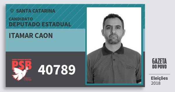 Santinho Itamar Caon 40789 (PSB) Deputado Estadual | Santa Catarina | Eleições 2018