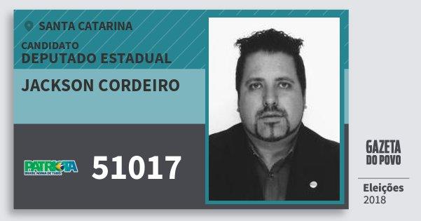 Santinho Jackson Cordeiro 51017 (PATRI) Deputado Estadual | Santa Catarina | Eleições 2018