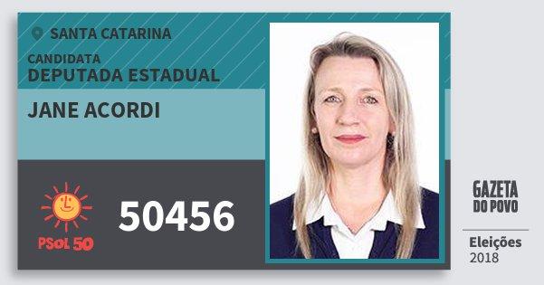 Santinho Jane Acordi 50456 (PSOL) Deputada Estadual | Santa Catarina | Eleições 2018