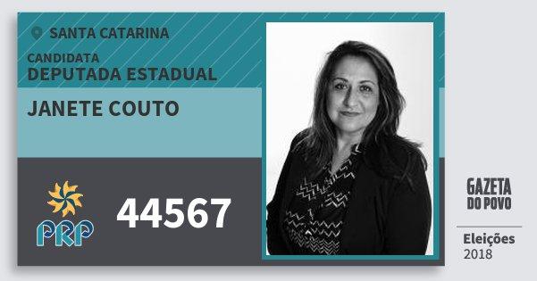 Santinho Janete Couto 44567 (PRP) Deputada Estadual | Santa Catarina | Eleições 2018