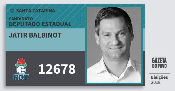Santinho Jatir Balbinot 12678 (PDT) Deputado Estadual | Santa Catarina | Eleições 2018