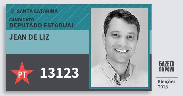 Santinho Jean de Liz 13123 (PT) Deputado Estadual | Santa Catarina | Eleições 2018