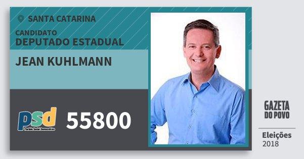 Santinho Jean Kuhlmann 55800 (PSD) Deputado Estadual | Santa Catarina | Eleições 2018