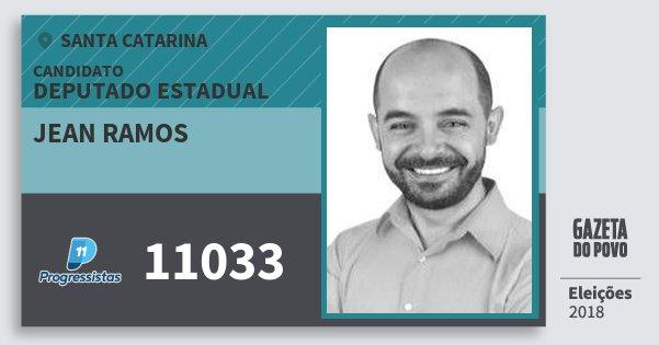 Santinho Jean Ramos 11033 (PP) Deputado Estadual | Santa Catarina | Eleições 2018