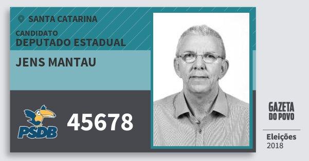Santinho Jens Mantau 45678 (PSDB) Deputado Estadual | Santa Catarina | Eleições 2018
