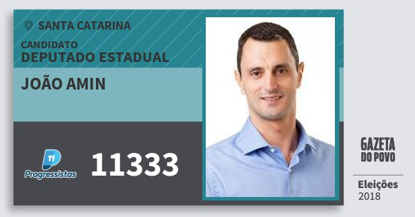Santinho João Amin 11333 (PP) Deputado Estadual | Santa Catarina | Eleições 2018