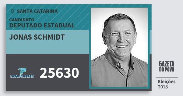 Santinho Jonas Schmidt 25630 (DEM) Deputado Estadual | Santa Catarina | Eleições 2018