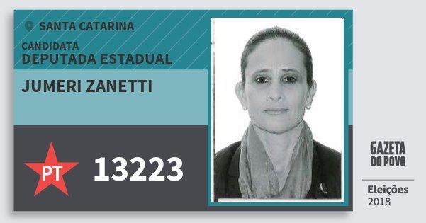 Santinho Jumeri Zanetti 13223 (PT) Deputada Estadual | Santa Catarina | Eleições 2018