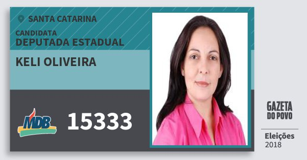Santinho Keli Oliveira 15333 (MDB) Deputada Estadual | Santa Catarina | Eleições 2018