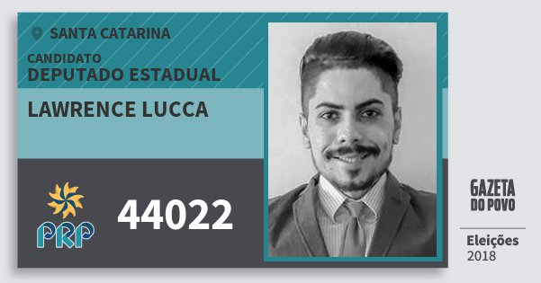 Santinho Lawrence Lucca 44022 (PRP) Deputado Estadual | Santa Catarina | Eleições 2018