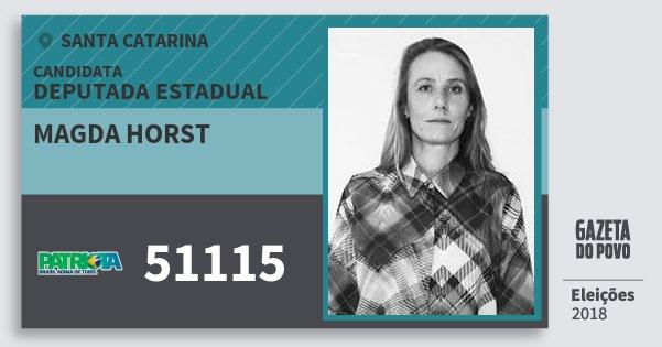 Santinho Magda Horst 51115 (PATRI) Deputada Estadual | Santa Catarina | Eleições 2018