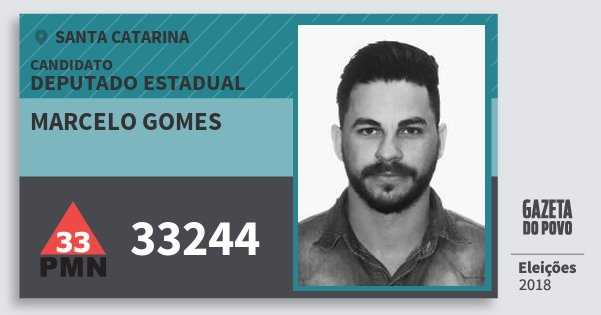 Santinho Marcelo Gomes 33244 (PMN) Deputado Estadual | Santa Catarina | Eleições 2018