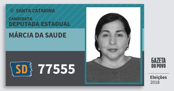 Santinho Márcia da Saude 77555 (SOLIDARIEDADE) Deputada Estadual | Santa Catarina | Eleições 2018