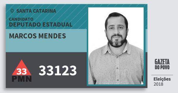 Santinho Marcos Mendes 33123 (PMN) Deputado Estadual | Santa Catarina | Eleições 2018