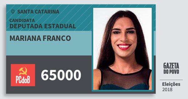 Santinho Mariana Franco 65000 (PC do B) Deputada Estadual | Santa Catarina | Eleições 2018