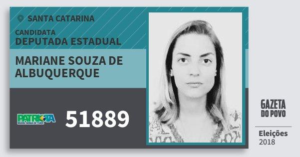 Santinho Mariane Souza de Albuquerque 51889 (PATRI) Deputada Estadual | Santa Catarina | Eleições 2018