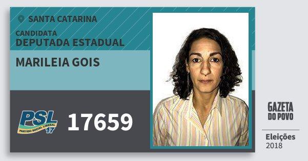 Santinho Marileia Gois 17659 (PSL) Deputada Estadual | Santa Catarina | Eleições 2018