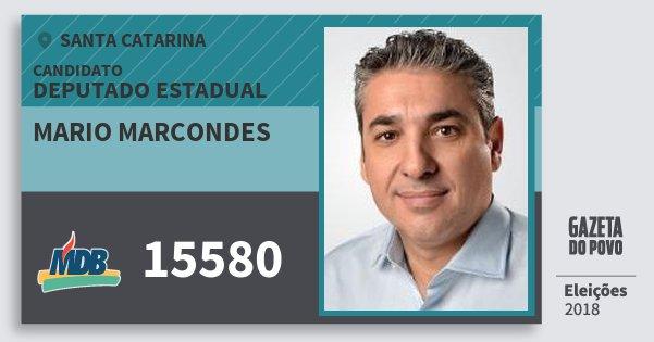 Santinho Mario Marcondes 15580 (MDB) Deputado Estadual | Santa Catarina | Eleições 2018