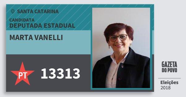 Santinho Marta Vanelli 13313 (PT) Deputada Estadual | Santa Catarina | Eleições 2018