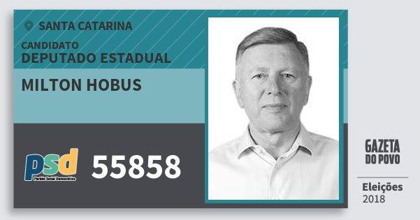 Santinho Milton Hobus 55858 (PSD) Deputado Estadual | Santa Catarina | Eleições 2018