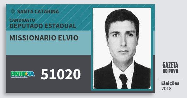Santinho Missionario Elvio 51020 (PATRI) Deputado Estadual | Santa Catarina | Eleições 2018