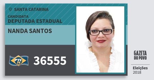 Santinho Nanda Santos 36555 (PTC) Deputada Estadual | Santa Catarina | Eleições 2018