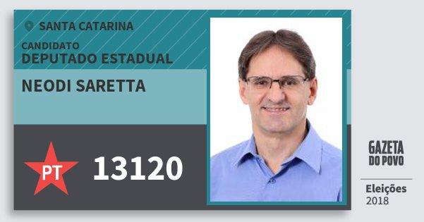 Santinho Neodi Saretta 13120 (PT) Deputado Estadual | Santa Catarina | Eleições 2018