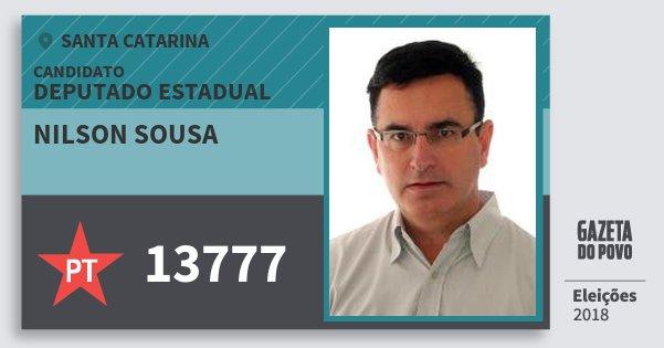 Santinho Nilson Sousa 13777 (PT) Deputado Estadual | Santa Catarina | Eleições 2018