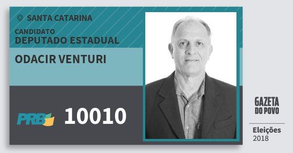 Santinho Odacir Venturi 10010 (PRB) Deputado Estadual | Santa Catarina | Eleições 2018