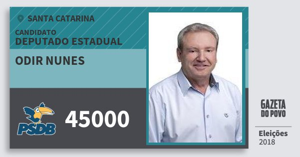 Santinho Odir Nunes 45000 (PSDB) Deputado Estadual | Santa Catarina | Eleições 2018
