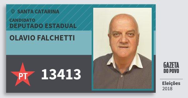 Santinho Olavio Falchetti 13413 (PT) Deputado Estadual | Santa Catarina | Eleições 2018