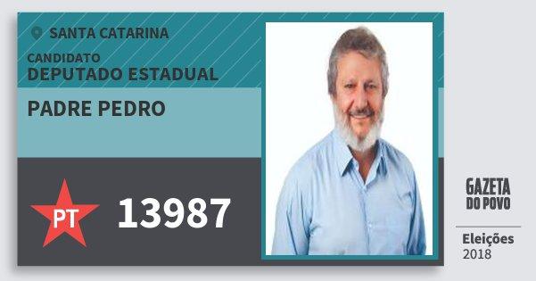 Santinho Padre Pedro 13987 (PT) Deputado Estadual | Santa Catarina | Eleições 2018