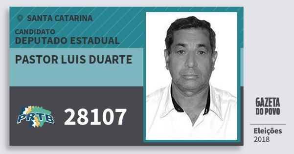 Santinho Pastor Luis Duarte 28107 (PRTB) Deputado Estadual | Santa Catarina | Eleições 2018