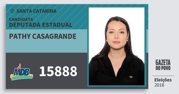 Santinho Pathy Casagrande 15888 (MDB) Deputada Estadual | Santa Catarina | Eleições 2018