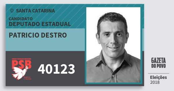 Santinho Patricio Destro 40123 (PSB) Deputado Estadual | Santa Catarina | Eleições 2018
