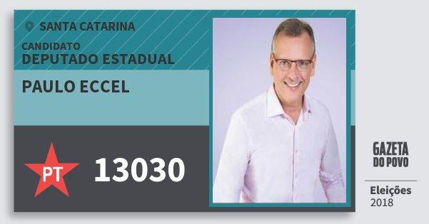 Santinho Paulo Eccel 13030 (PT) Deputado Estadual | Santa Catarina | Eleições 2018